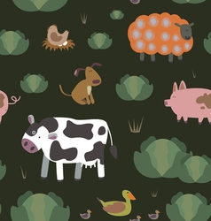 Farm animals seamless pattern vector image