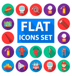 Fire department flat icons in set collection for vector