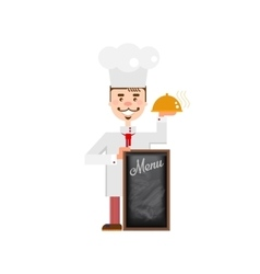 Flat chef character with chalkboard vector