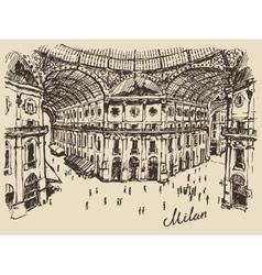Gallerie Viktora shopping center in Milan Italy vector image