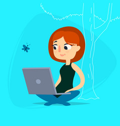 girl with notebook under tree vector image