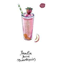 glass of jamba juice strawberries watercolor vector image