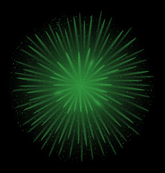Green realistic fireworks vector