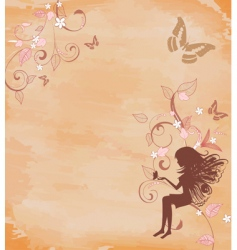 grunge background with a fairy vector image vector image