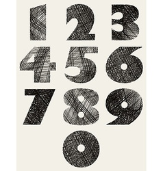 Hand drawn and sketched bold numbers set vector image