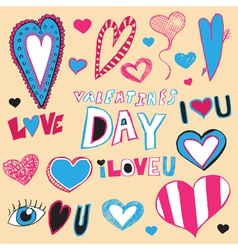 Hand Drawn Valentines Day Art vector image