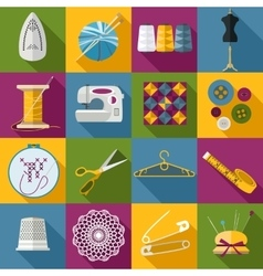 Handmade and sewing icons set flat style design vector