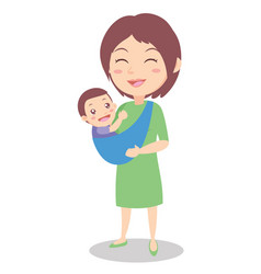 Happy mother with baby character vector
