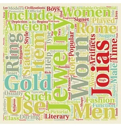 Jewelry in ancient rome text background wordcloud vector