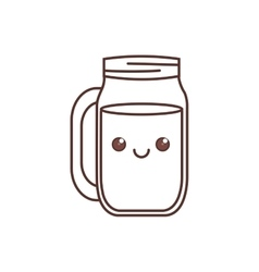 Kawaii jar glass drinking liquid thin line vector