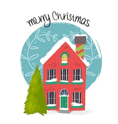 Merry Christmas house art with holiday decoration vector image vector image