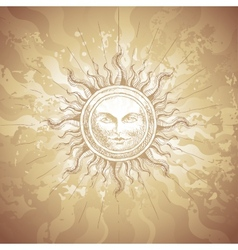 Old-fashioned sun decoration vector