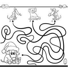 Paths maze game with dogs for coloring vector