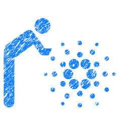 Person rolling cardano icon grunge watermark vector