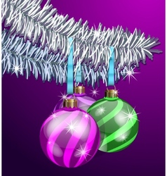 purple christmas balls vector image