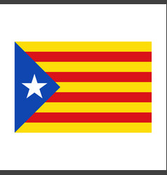 realistic catalan flag with drop shadow vector image vector image