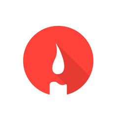 red candle icon with long shadow vector image