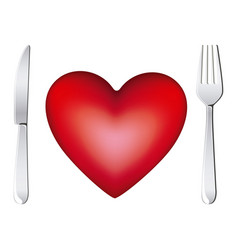 red heart with fork and knife icon vector image vector image