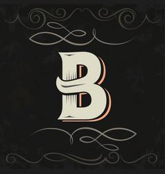Retro style western letter design letter b vector