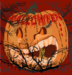 scary pumpkin for celebrating halloween vector image vector image