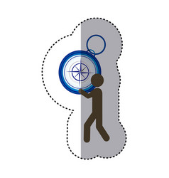 sticker colorful worker holding up compass of hand vector image
