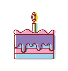 Tasty cake desset with candle to eat vector