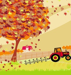 Tractor plowing field in autumn vector