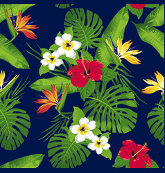tropical flowers seamless vector image vector image