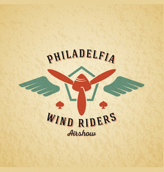 Wind riders airplane retro label sign or vector