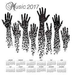 A creative 2017 musical calendar made with hands vector