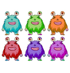 Six colorful aliens vector