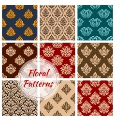 Retro floral seamless pattern background set vector