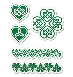 Celtic green heart knot - symbols set vector image