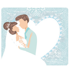 wedding couple - stylish invitation card vector image