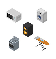 Isometric technology set of stove laundry music vector