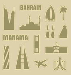 Manama bahrain city icon symbol silhouette set vector