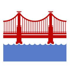 Red bridge icon over river vector