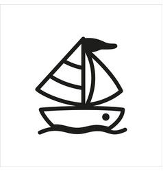 Yacht icon in simple monochrome style vector