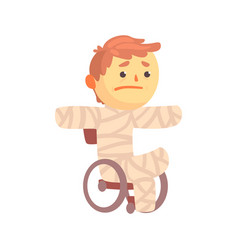 Injured boy character in gypsum sitting in a vector