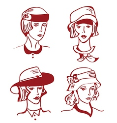 Retro woman in hats hand drawn design vector