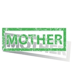 Green outlined mother stamp vector