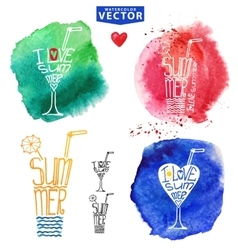 Abstract wtercolor summer typography glass vector