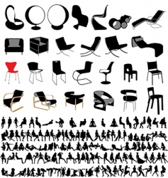 Chairs and people collection vector