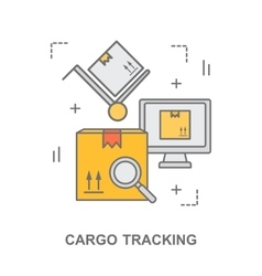 Thin line flat design banner for cargo tracking vector