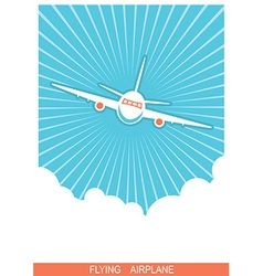 Airplane flying in sky blue poster background vector image