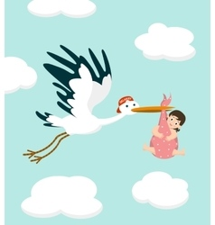 Stork carrying a cute baby girl newborn baby vector