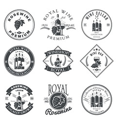 Wine club and restaurant emblems and labels set vector