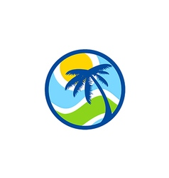 Abstract beach palm tree tropic logo vector