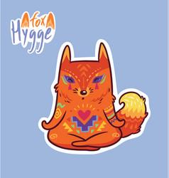 Baby fox in lotus meditation cute decorative vector