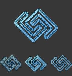 Blue line tech logo design set vector
